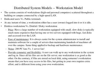 Distributed System Models -- Workstation Model