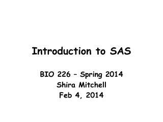 Introduction to SAS