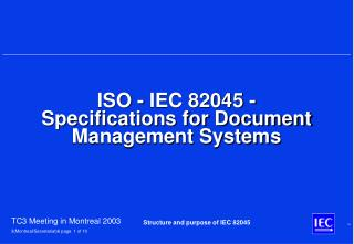 ISO - IEC 82045 - Specifications for Document Management Systems