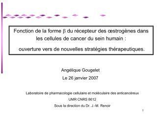 Fonction de la forme   du récepteur des  œstrogènes dans les cellules de cancer du sein humain :