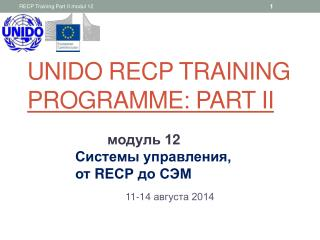 UNIDO RECP training  programme : Part II