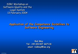 Application of the Competence Guidelines to Software Engineering