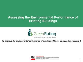 Assessing the Environmental Performance of Existing Buildings