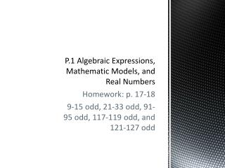 P.1 Algebraic Expressions, Mathematic Models, and Real Numbers