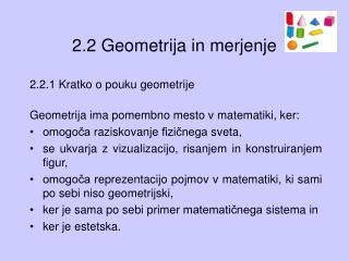 2.2 Geometrija in merjenje