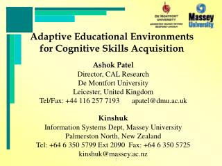 Adaptive Educational Environments for Cognitive Skills Acquisition