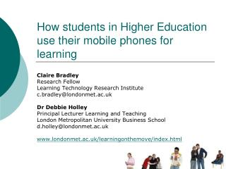 How students in Higher Education use their mobile phones for learning
