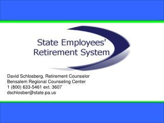 David Schlosberg, Retirement Counselor Bensalem Regional Counseling Center