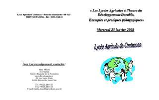 «Les Lycées Agricoles à l'heure du      Développement Durable,