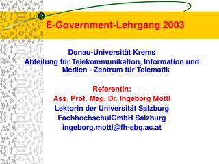 E-Government-Lehrgang 2003