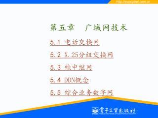 5.1  电话交换网 5.2  X.25 分组交换网 5.3  帧中继网 5.4  DDN 概念 5.5  综合业务数字网