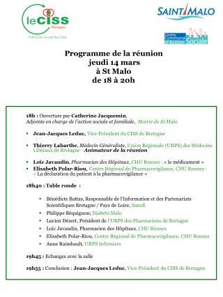 Programme de la réunion   jeudi 14 mars à St Malo de 18 à 20h