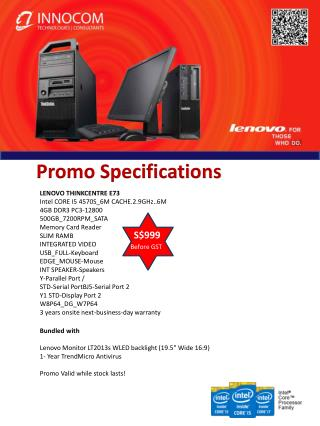 "Bundled with Lenovo Monitor LT2013s WLED backlight (19.5"" Wide 16:9) 1- Year TrendMicro Antivirus"