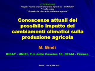 Conoscenze attuali del possibile impatto dei cambiamenti climatici sulla produzione agricola