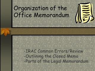 Organization of the Office Memorandum
