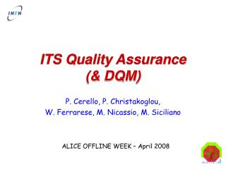 ITS Quality Assurance (& DQM)