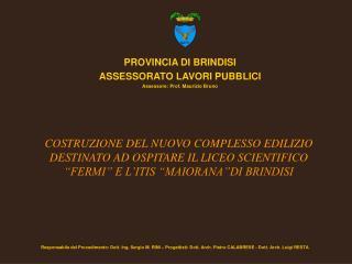 PROVINCIA DI BRINDISI ASSESSORATO LAVORI PUBBLICI Assessore: Prof. Maurizio Bruno