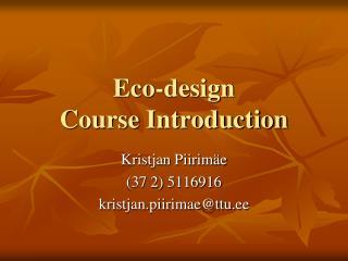 Eco-design  Course Introduction