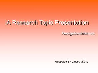 IA Research Topic Presentation
