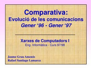 Comparativa: Evolució de les comunicacions Gener '96 - Gener '97