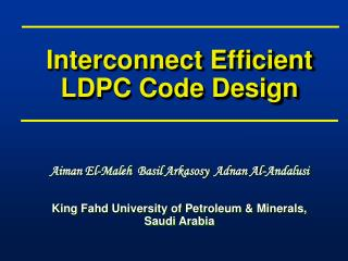 Interconnect Efficient LDPC Code Design