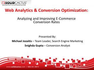 Web Analytics & Conversion Optimization: Analyzing and Improving E-Commerce  Conversion Rates