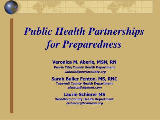 Public Health Partnerships for Preparedness