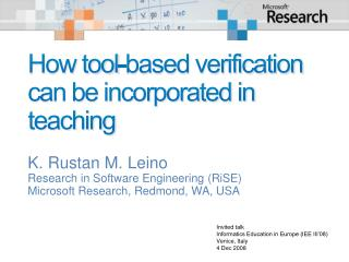 How tool-based verification can be incorporated in teaching