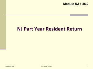 NJ Part Year Resident Return