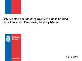 Sistema Nacional de Aseguramiento de la Calidad de la Educación  Parvularia , Básica y Media