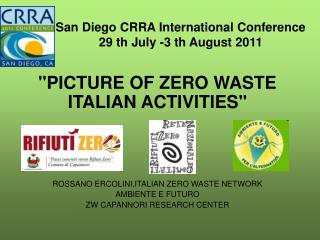 San Diego CRRA International Conference 29 th July -3 th August 2011