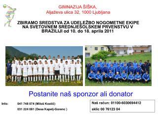 Postanite naš sponzor ali donator