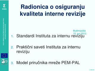 Radionica o osiguranju kvaliteta interne revizije
