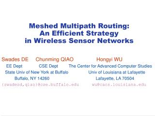 Meshed Multipath Routing:  An Efficient Strategy  in Wireless Sensor Networks