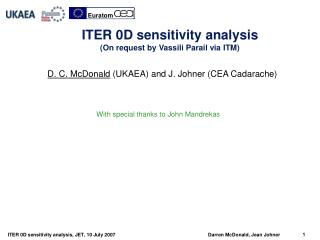 ITER  0D  sensitivity  analysis (On request by Vassili Parail via ITM)