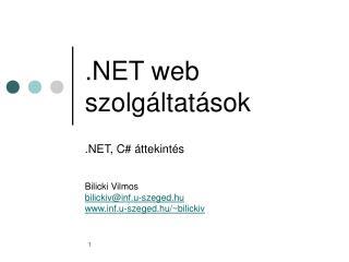 .NET web szolgáltatások