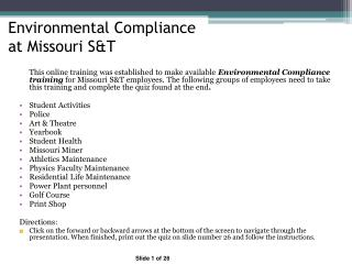 Environmental Compliance   at Missouri S&T