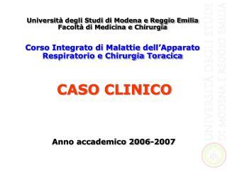 Università degli Studi di Modena e Reggio Emilia Facoltà di Medicina e Chirurgia