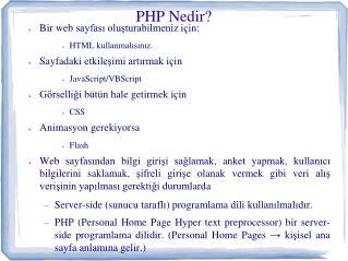 PHP  Nedir ?