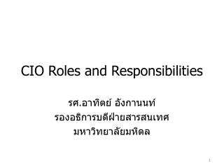 CIO Roles and Responsibilities