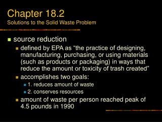 Chapter 18.2 Solutions to the Solid Waste Problem