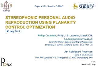 STEREOPHONIC PERSONAL AUDIO REPRODUCTION USING PLANARITY CONTROL OPTIMIZATION
