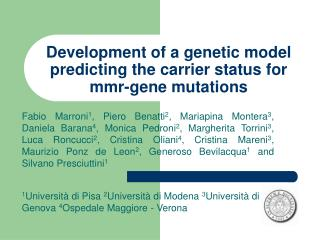 Development of a genetic model predicting the carrier status for mmr-gene mutations