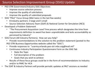 Source Selection Improvement  Group (S SIG)  Update