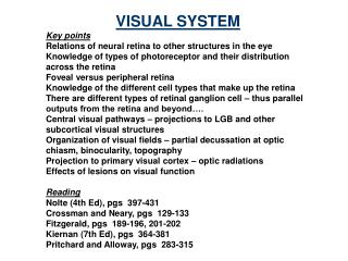 VISUAL SYSTEM Key points Relations of neural retina to other structures in the eye