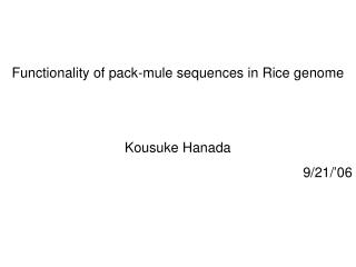 Functionality of pack-mule sequences in Rice genome Kousuke Hanada 9/21/'06