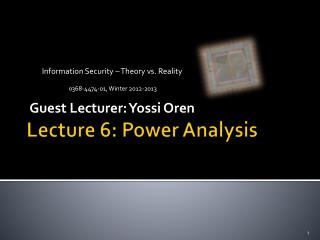 Lecture  6:  Power Analysis