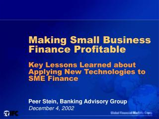 Making Small Business Finance Profitable