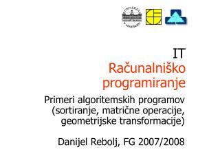 IT Ra?unalni�ko programiranje