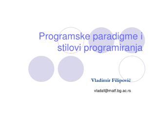 Programske paradigme i stilovi programiranja